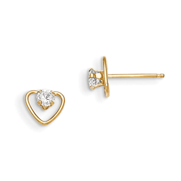 14kt Yellow Gold CZ Accented Open Heart Frame Girls Stud Earrings