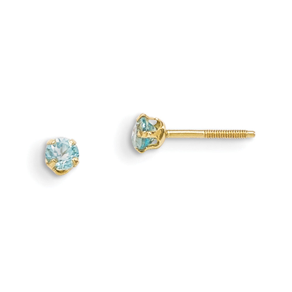 c48779149 14kt Yellow Gold 3mm Genuine Blue Zircon Screwback Girls Stud Earrings –  BodyCandy