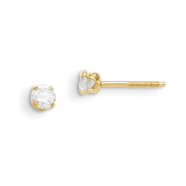 14kt Yellow Gold 3mm Synthetic Spinel Screwback Girls Stud Earrings