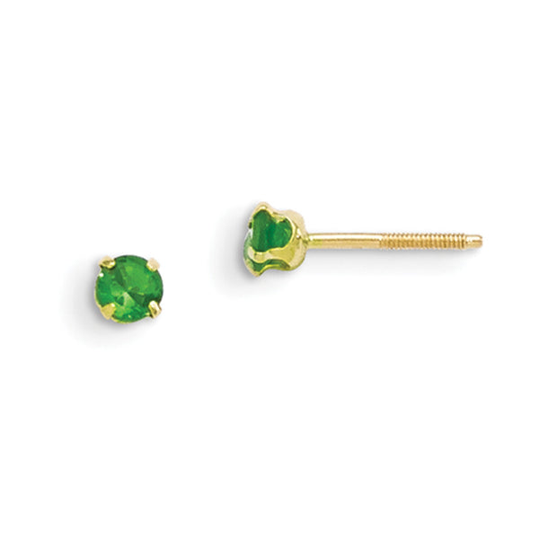 14kt Yellow Gold 3mm Synthetic Emerald Screwback Girls Stud Earrings