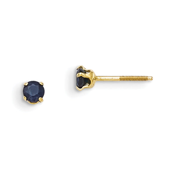 14kt Yellow Gold 3mm Synthetic Sapphire Screwback Girls Stud Earrings
