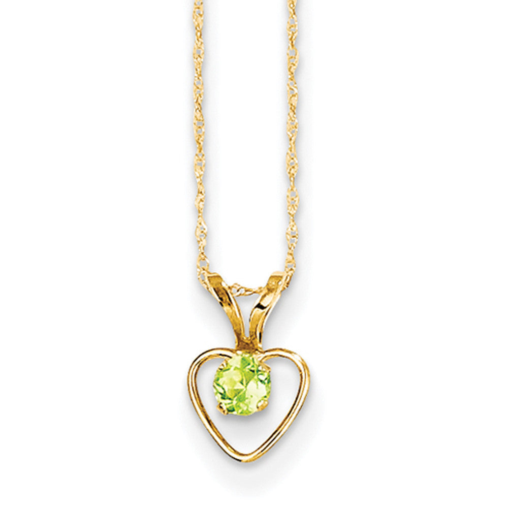 14kt Yellow Gold 15 Inch Open Heart Frame Peridot Girls Necklace