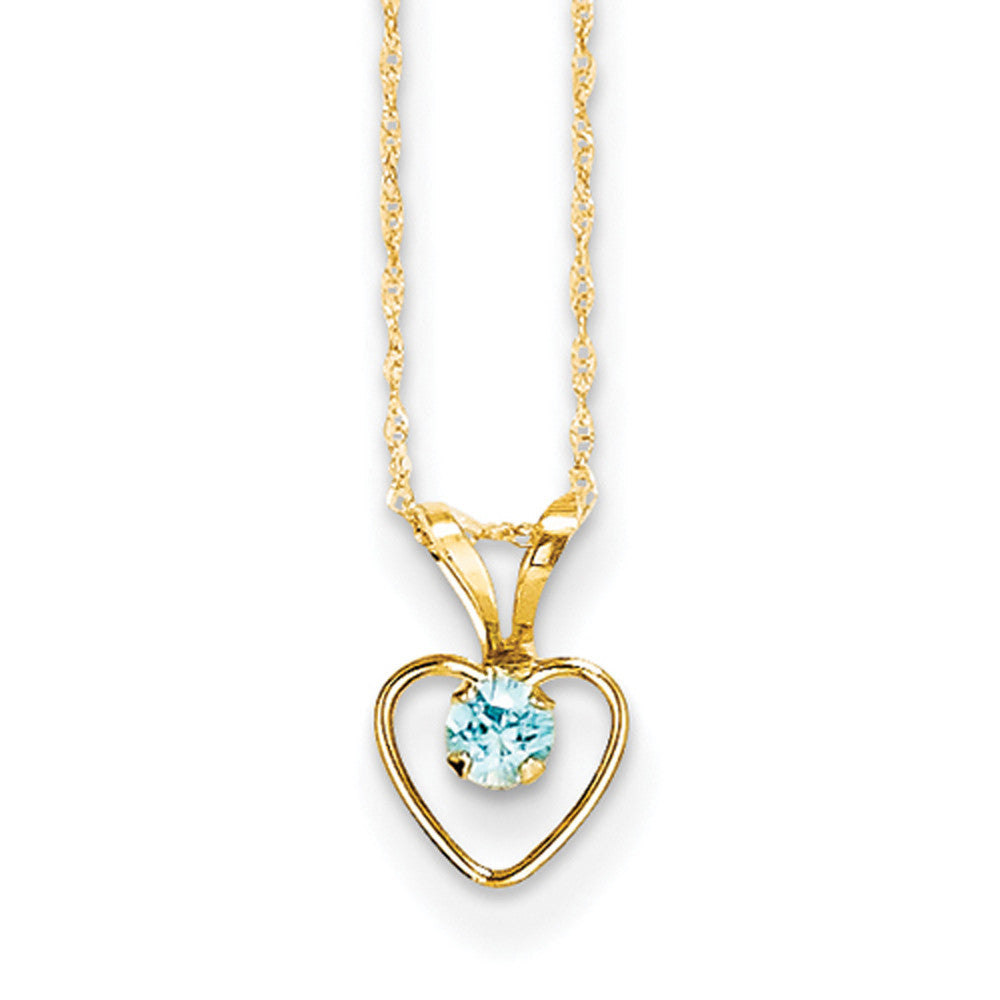 14kt Yellow Gold 15 Inch Open Heart Frame Blue Zircon Girls Necklace