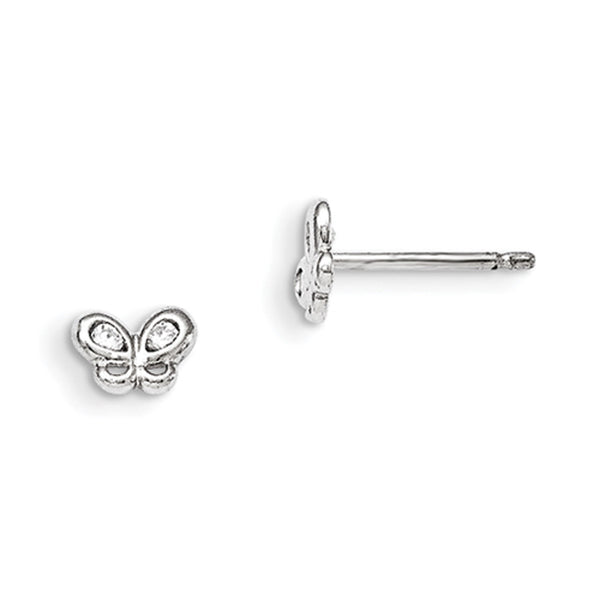 925 Sterling Silver Petite Butterfly with CZ Wings Girls Stud Earrings