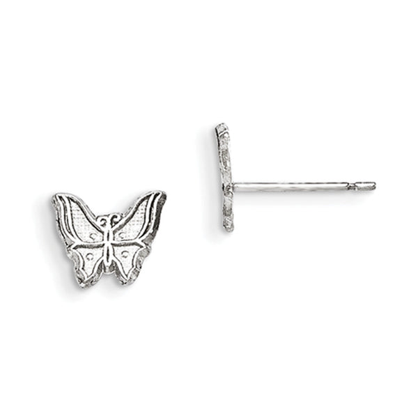 925 Sterling Silver 9mm Satin Textured Butterfly Girls Stud Earrings