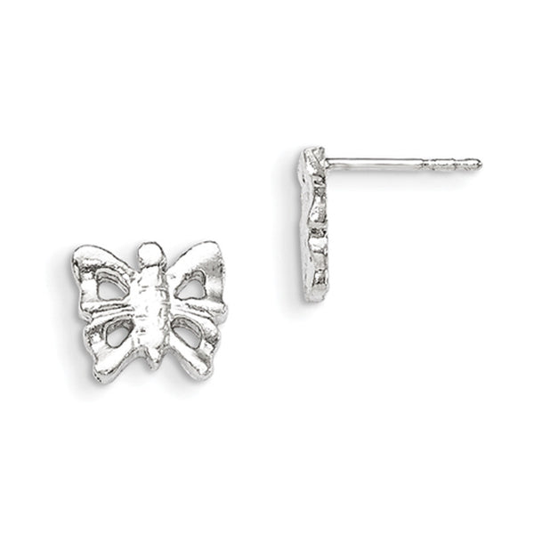 925 Sterling Silver 10mm Casted Butterfly Girls Stud Earrings
