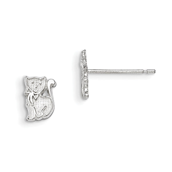 925 Sterling Silver Textured Petite Kitten Girls Stud Earrings