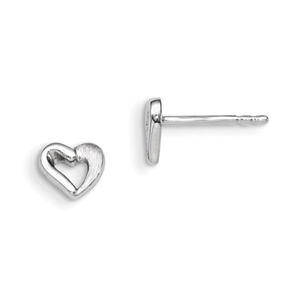 925 Sterling Silver Rhodium Plated Hitched Heart Girls Stud Earrings
