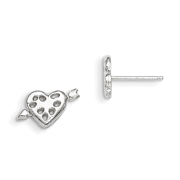 925 Sterling Silver Cupid Heart with Arrow Girls Stud Earrings