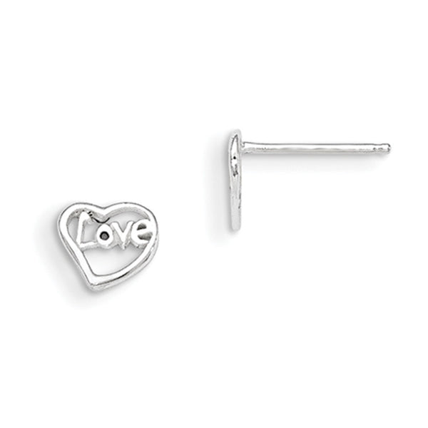 925 Sterling Silver Heart with Love Message Girls Stud Earrings
