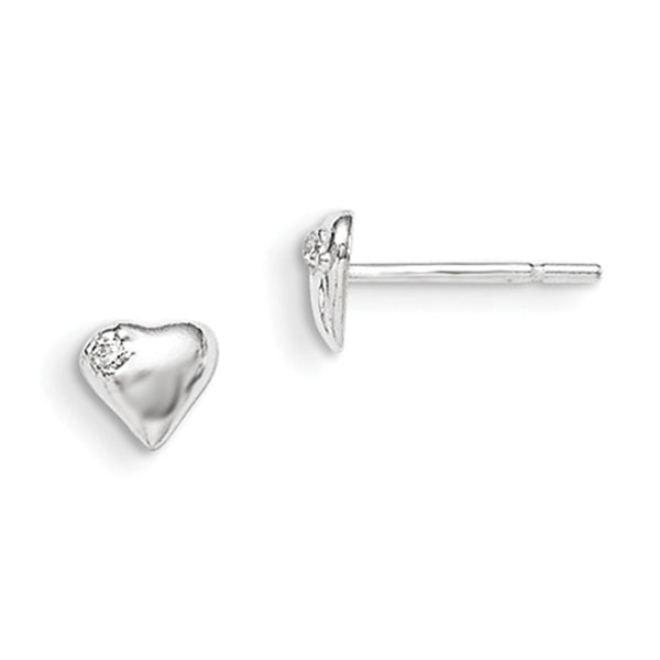 925 Sterling Silver Rounded Heart with CZ Accent Girls Stud Earrings