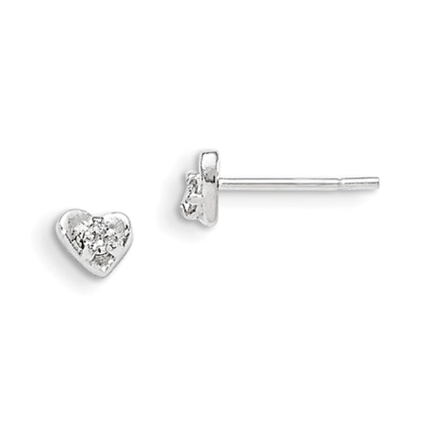 925 Sterling Silver Heart with Single CZ Accent Girls Stud Earrings