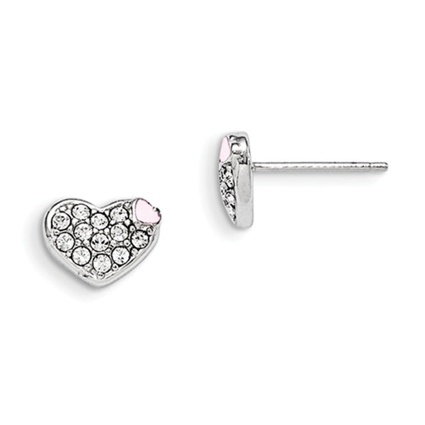 925 Silver Enamel Heart Stud Earrings Created with Swarovski Crystals