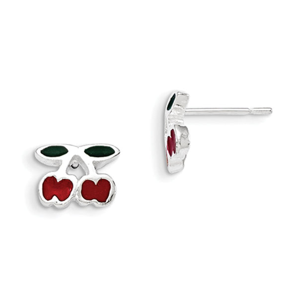 925 Sterling Silver Red Enameled Double Cherries Girls Stud Earrings