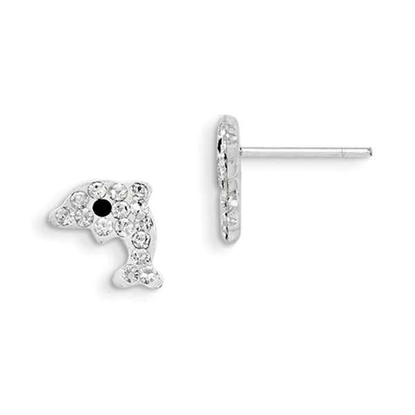 925 Sterling Silver Sparkling Crystal Dolphin Girls Stud Earrings