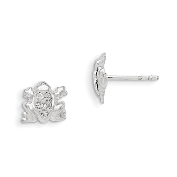 925 Sterling Silver Fashion Frog Clear Crystal Girls Stud Earrings