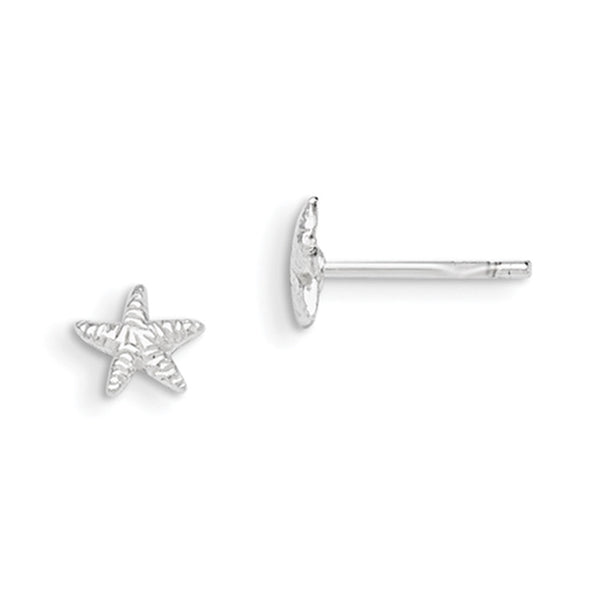 925 Sterling Silver 6mm Textured Starfish Girls Stud Earrings