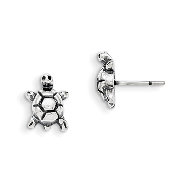 925 Sterling Silver Antiqued Tiny Turtle Girls Stud Earrings