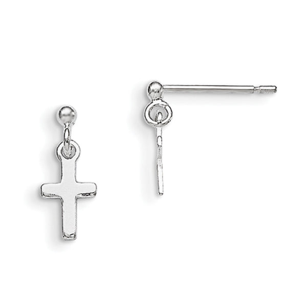 925 Sterling Silver 12mm Smooth Christian Cross Girls Dangle Earrings