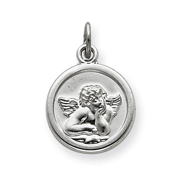 925 Sterling Silver Engravable Angelic Cherub Girls Pendant