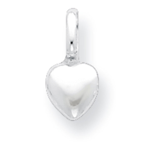 925 Sterling Silver 6mm Wide Three Dimensional Heart Girls Pendant