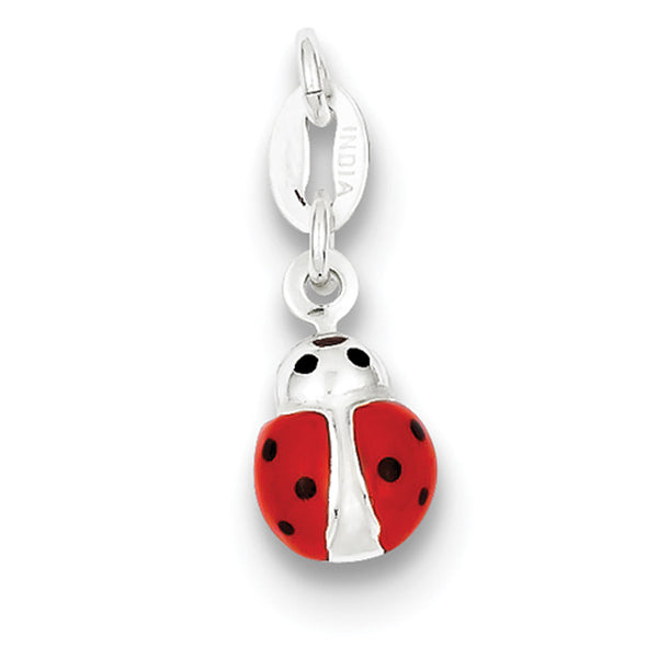 925 Sterling Silver Enameled Dimensional Ladybug Girls Pendant