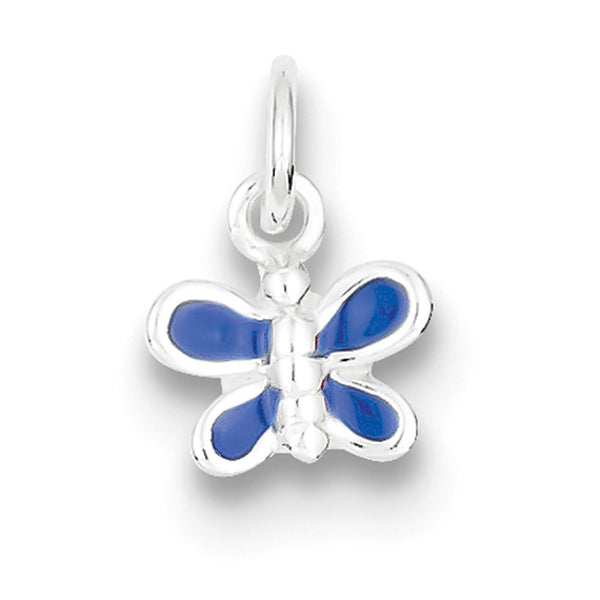 925 Sterling Silver Butterfly with Blue Enameled Wings Girls Pendant
