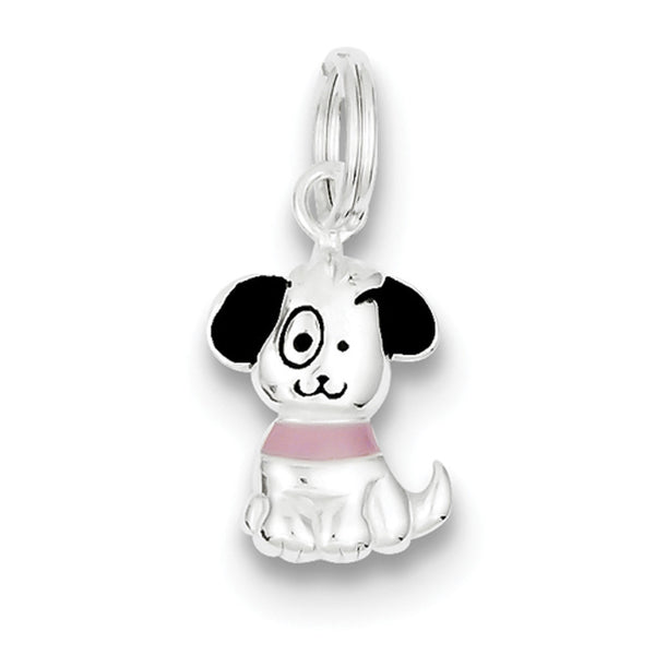 925 Sterling Silver Enameled Sitting Cartoon Puppy Girls Pendant