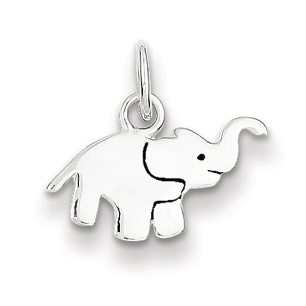 925 Sterling Silver Enameled Happy Elephant Girls Pendant
