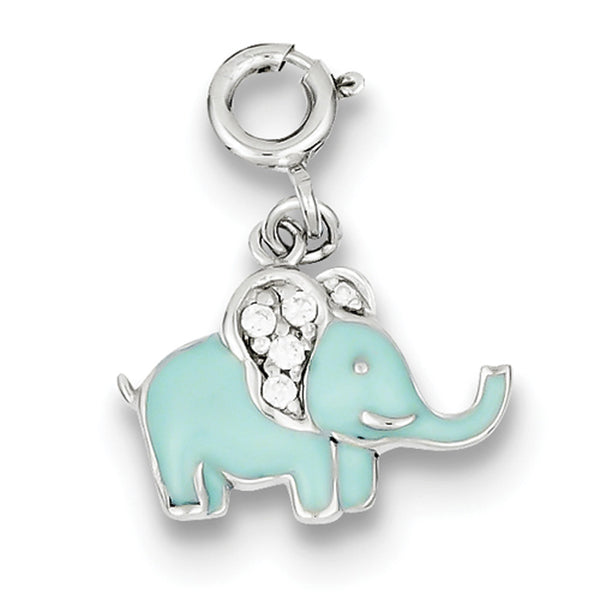 925 Sterling Silver Blue Enameled Elephant with CZ Stones Girls Charm
