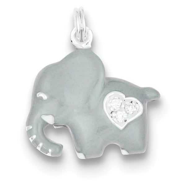 925 Sterling Silver Grey Enameled Elephant CZ Heart Girls Pendant