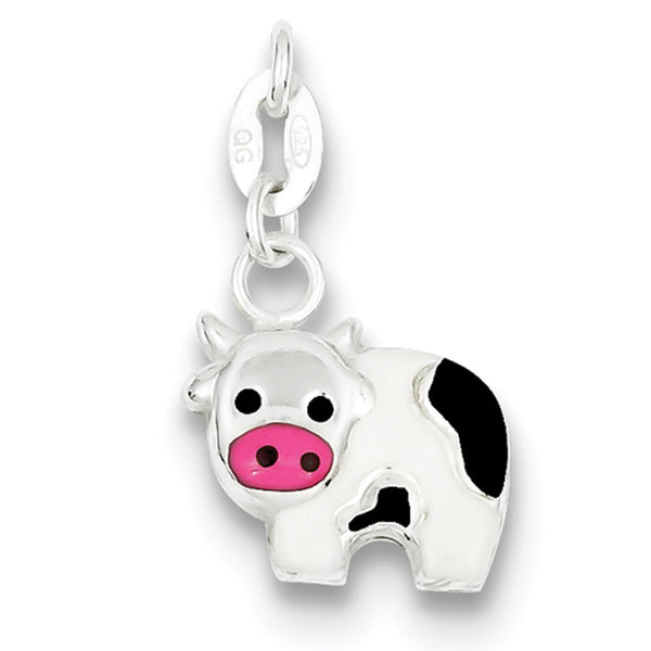 925 Sterling Silver Enameled Cheerful Diary Cow Girls Pendant