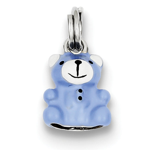 925 Sterling Silver Blue Enameled Dimensional Teddy Bear Girls Pendant