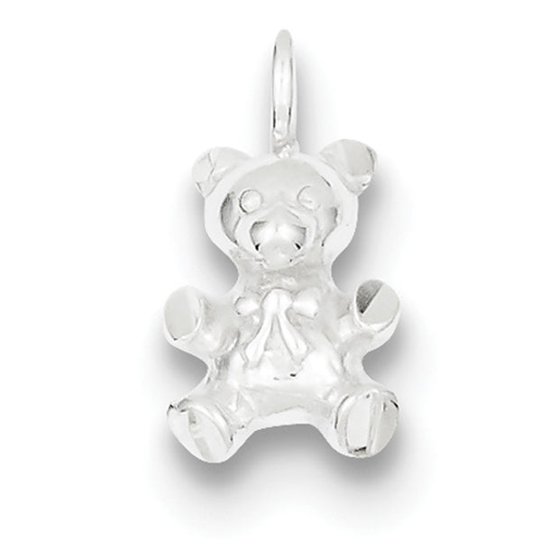 925 Sterling Silver Dimensional Bow Tie Teddy Bear Girls Pendant