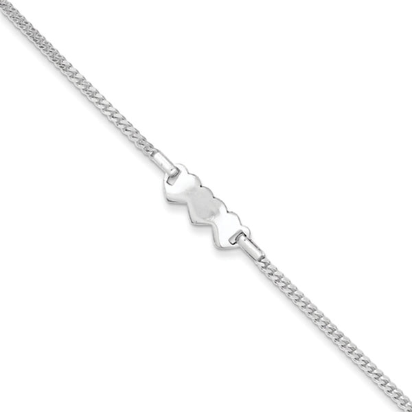 925 Sterling Silver 6 Inch Curb Chain Heart Shaped Girls ID Bracelet