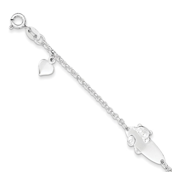 925 Sterling Silver 6 Inch Cable Chain Teddy Bear Girls ID Bracelet