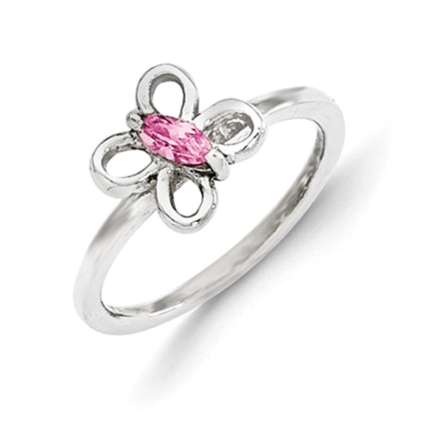 925 Sterling Silver Pink CZ Stone Butterfly Girls Fashion Ring