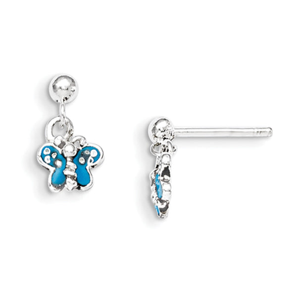 925 Sterling Silver Blue Enameled Butterfly Girls Dangle Earrings