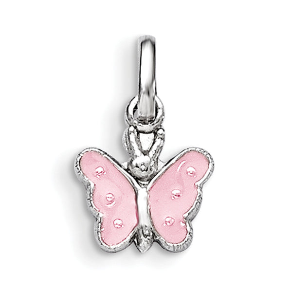925 Sterling Silver Pink Enameled Butterfly Girls Pendant
