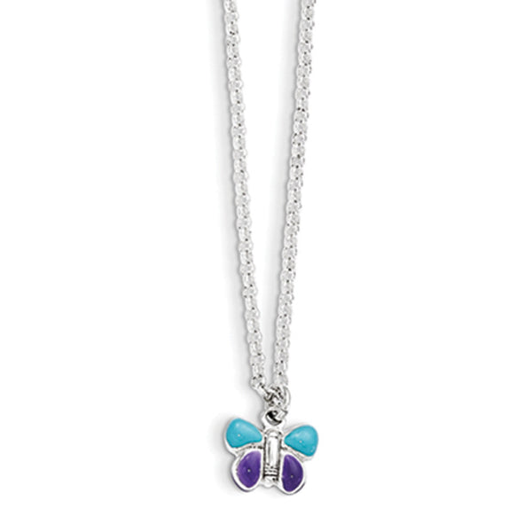 925 Sterling Silver 15 Inch Blue and Violet Butterfly Girls Necklace