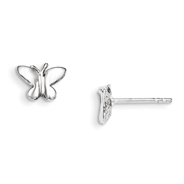 925 Sterling Silver Rhodium Plated Mod Butterfly Girls Stud Earrings