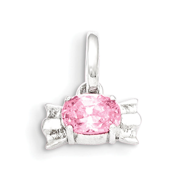 925 Sterling Silver Prong Set Oval Pink CZ Stone Girls Pendant