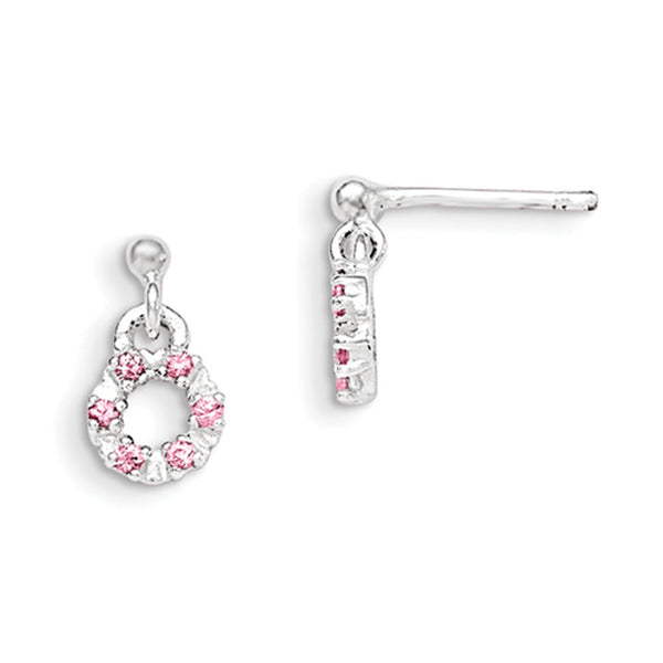 925 Sterling Silver Pink CZ Wreath Girls Dangle Earrings