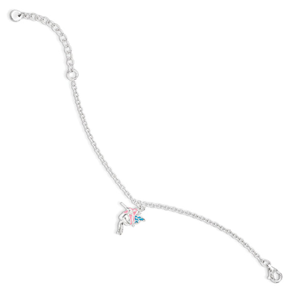 925 Silver Enameled Pink and Blue Dancing Fairy Girls Bracelet