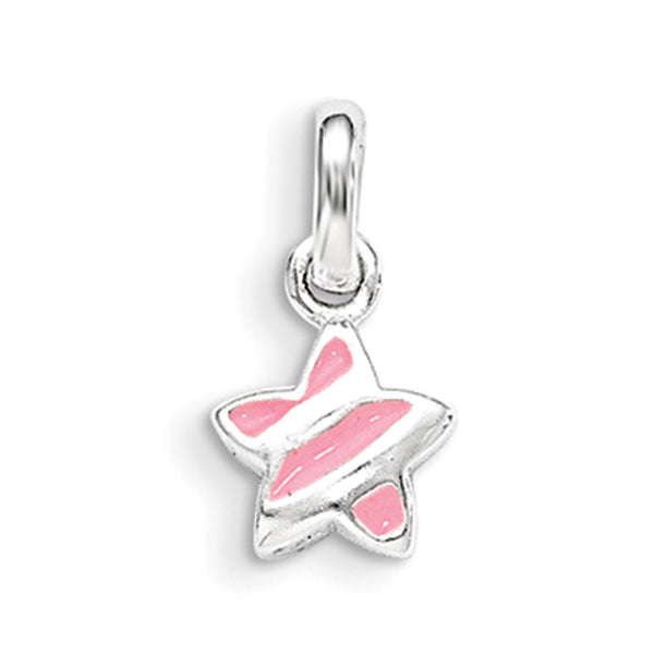 925 Sterling Silver Pink Enameled Striped Star Girls Pendant