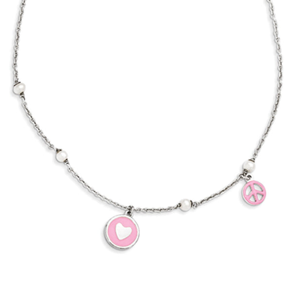 925 Silver 14 Inch Pink Enamel and Cultured Pearl Girls Necklace