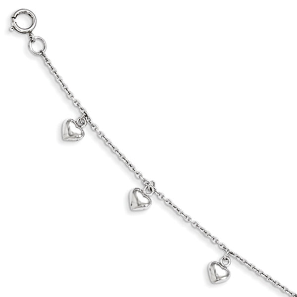 925 Sterling Silver Bright 3D Hollow Hearts Girls Bracelet