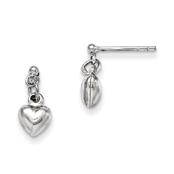 925 Sterling Silver Bright 3D Hollow Hearts Girls Dangle Earrings