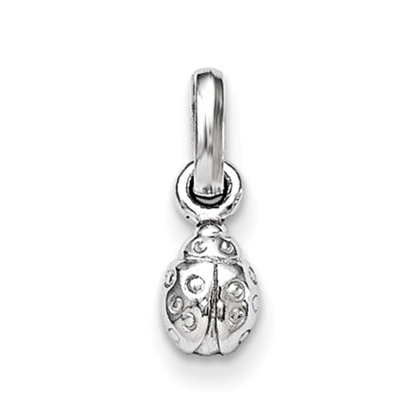 925 Sterling Silver Rhodium Plated Ladybug Girls Pendant