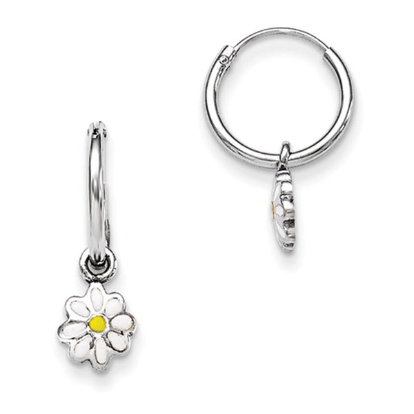 925 Sterling Silver White Enameled Daisy Flower Girls Hoop Earrings